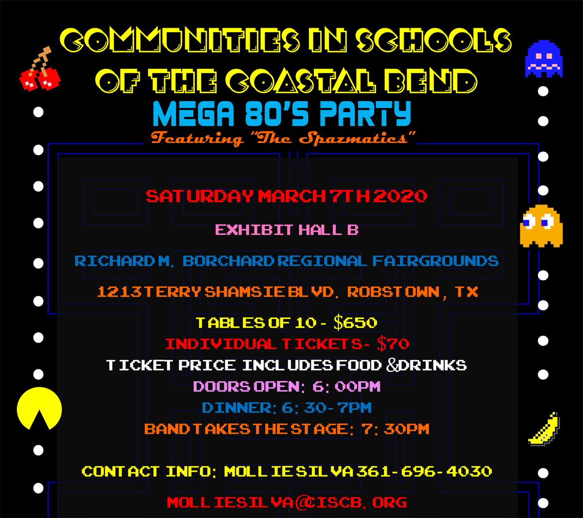 Mega 80s Banner with event information